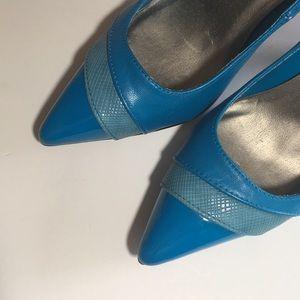 NWOB Qupid Brite Blue Heels Sz 7